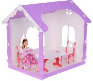 Домик для кукол  Летний дом Вероника бело-сиреневый с мебелью