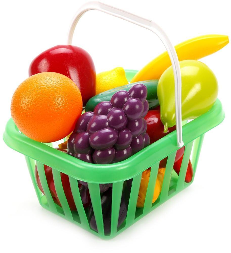 Набор Фрукты и овощи в корзине (виноград,лимон,апельсин,банан,груша,яблоко,огурец,перец)