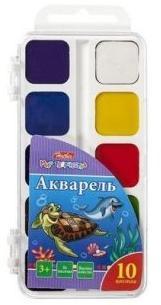 Краски Акварель медовые полусухие 10 цв. Дельфины без кисти в пластиковом пенале