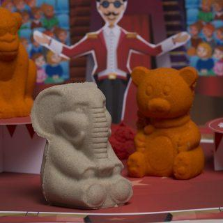 Набор Цирк 2 кг, песок два цвета, (песочница+формочки3D)