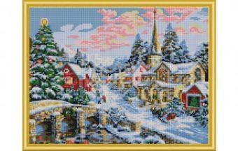 Алмазная мозаика Зимний город, 40х50 см