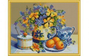 Алмазная мозаика Натюрморт с абрикосами, 40х50 см