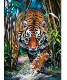 Алмазная мозаика Тигр на охоте, 40х50 см