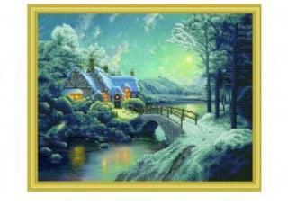 Алмазная мозаика Зимний пейзаж с мостом, 40х50 см