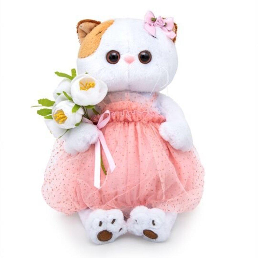 Кошечка  Ли-Ли с белым букетом 24 см