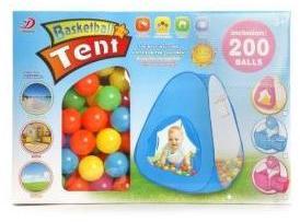 ДЕФЕКТ УПАКОВКИ Палатка игровая с баскетбольной корзиной, в комплекте пластмасс.шарики 200 шт., коро