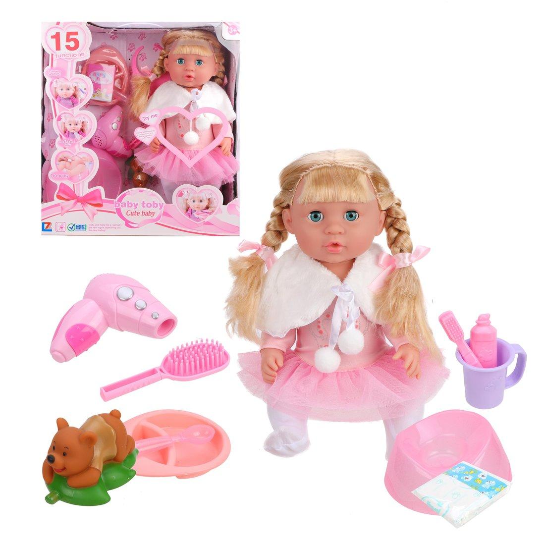 Кукла Даша в роз.юбочке, пьет, писает, звук,  аксесс. 13  предм., кор.