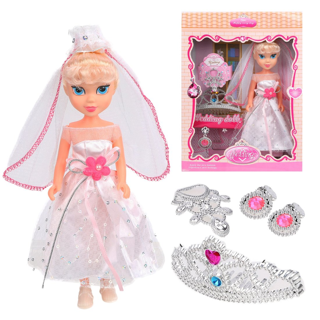 Кукла-невеста 22см, аксесс.4 предм., кор.