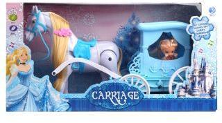 Карета музыкальная с лошадкой и куколкой, бат.в компл.не вх., кор.