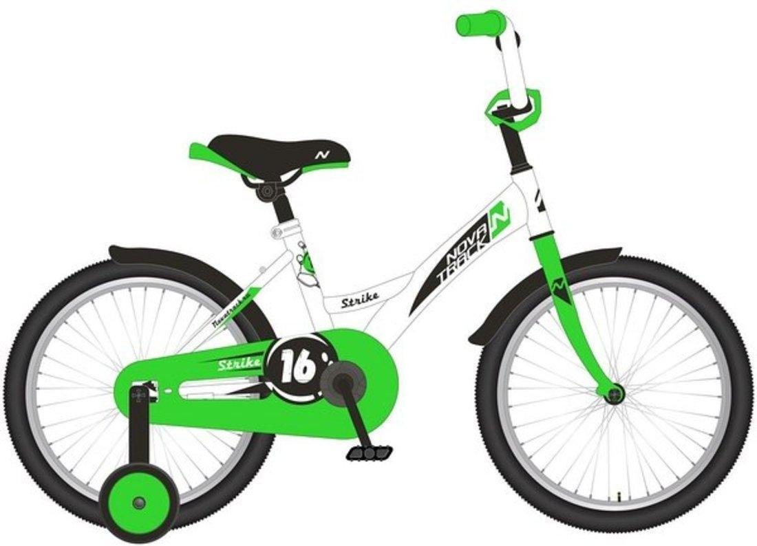 """Велосипед NOVATRACK 12"""" STRIKE, белый-зелёный, тормоз нож., корот.крылья"""