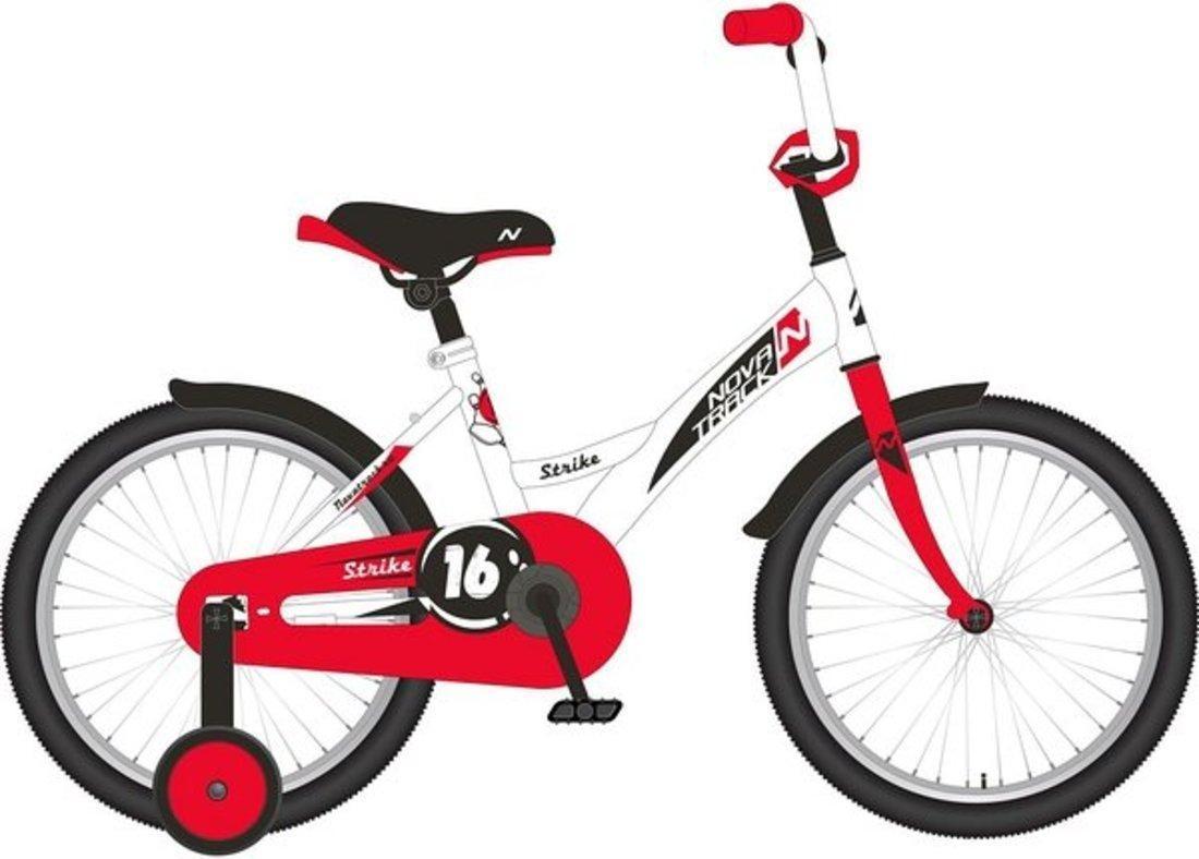 "Велосипед NOVATRACK 12"" STRIKE, белый-красный, тормоз нож., корот.крылья"
