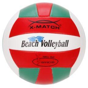 Мяч волейбольный X-Match зелен-красн-бел, 2 слоя ПВХ, диам 8,5 дюймов, резиновая камера