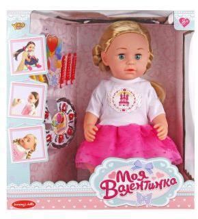Кукла Валентинка 43см Именинница, аксесс 8 предм., ходит на горшок, закрыв.глаза, ножки гнутся в коленях, кор.