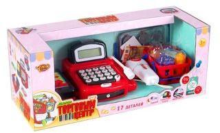 Игровой набор Магазин, касса с микрофоном, товарн.лентой и калькулятором, свет, звук, бат. 2*АА в компл.не вх., кор.