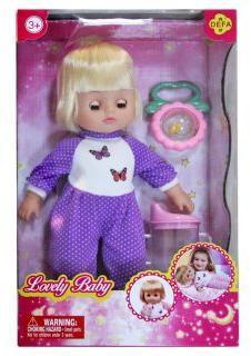 Кукла Defa любимый малыш, 29 см, в  сиренев.  костюме, с аксесс., 2 предм.,  кор.