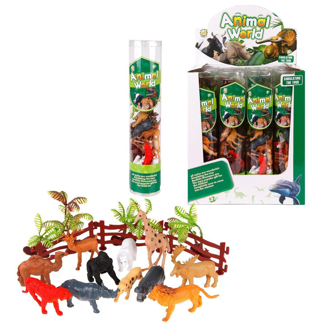 Набор диких животных с аксессуарами, в тубе, дисплей