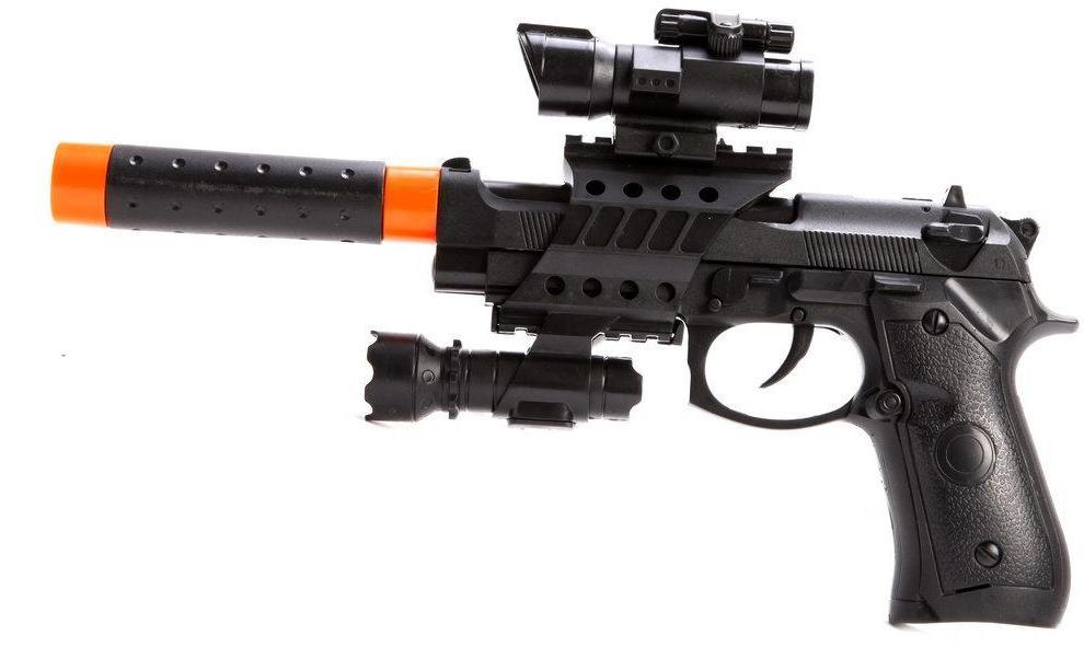 Пистолет эл., съемный глушитель свет, звук, вибрация, пакет