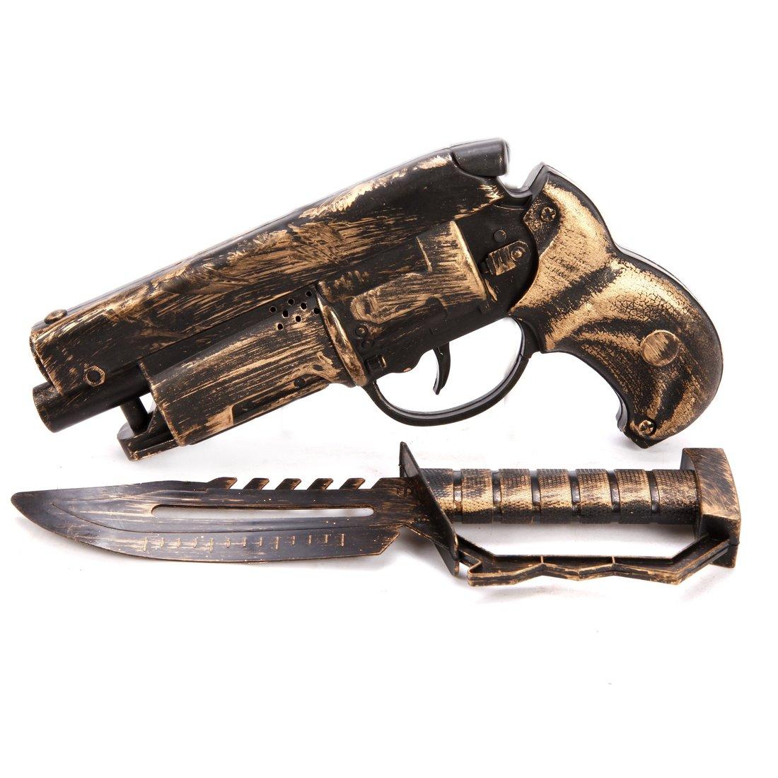 Игр.набор, пистолет трещ., нож, пакет