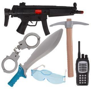 Игр.набор Военного, автомат-трещ., рация, очки, наручники, кинжал, кирка, пакет