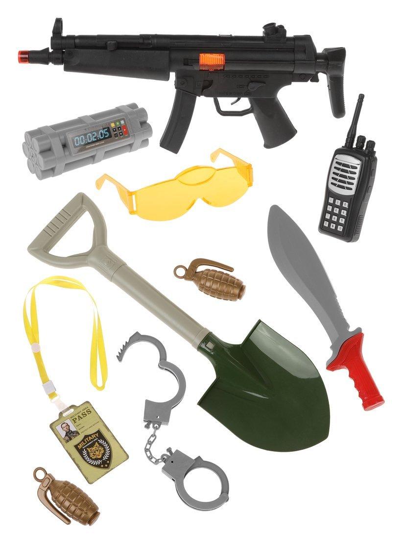 Игр.набор Военного, автомат-трещ., рация, очки, наручники, кинжал, лопатка, граната 2шт., бомба, удостоверение, пакет