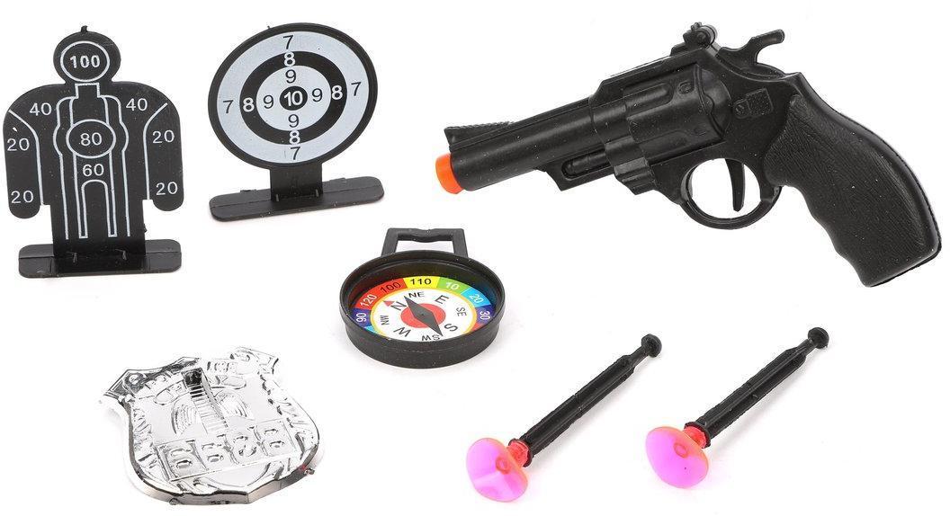 Игр.набор Полиция, револьвер, стрелы с присосками 2шт., компас, жетон, мишень 2шт., пакет