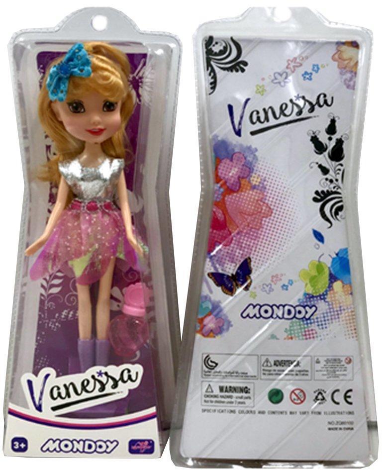 Кукла 23 см  Ванесса, блестящее  платье., блистер