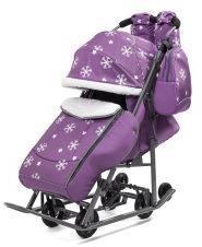 Коляска-санки Pikate Снежинки (фиолетовый,цвет рамы темно-серый)