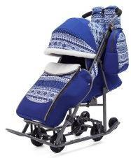 Коляска-санки Pikate Скандинавия (синий, цвет рамы темно-серый)
