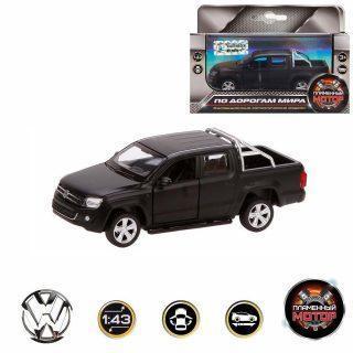 Машина мет. 1:46 Volkswagen Amarok, откр.двери, 12см, черный матовый