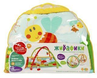 Развивающий коврик Коровка Муу и кукурузка с 5-ю развивающими игрушками и пищалкой
