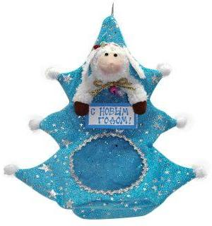Мешок для подарка Овечка 24 см, голуб.