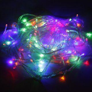Гирлянда электрическая 100LED 5 мм, цветного свечения, прозрачный провод 8м, 8 реж., длина от переключателя до вилки 1,5