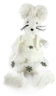 Фигурка Мышка под елку 46 см, бел., пенопласт+хлопок