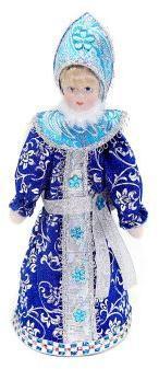 Кукла Снегурочка 20 см под елку, син.