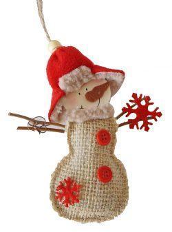 Подвеска Снеговик 14 см, красн.