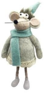 Фигурка Мышка с голубым шарфом 10*9*24 см